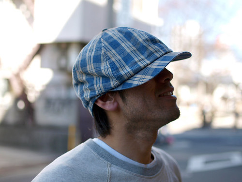 RRL / Linen Plaid Newsboy Cap
