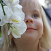 Keira with white orchids 1