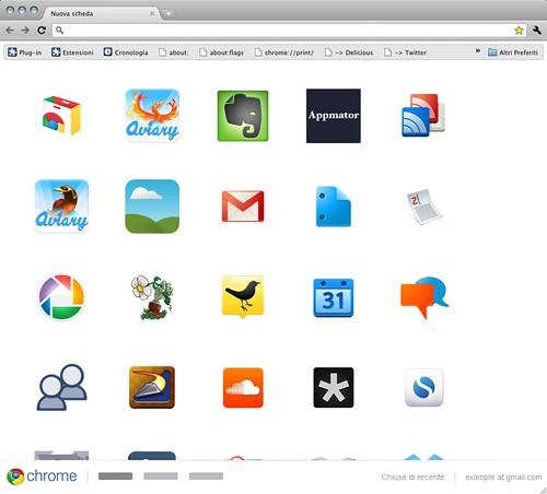 Chrome 12.0.712.0 dev - Experimental new tab page