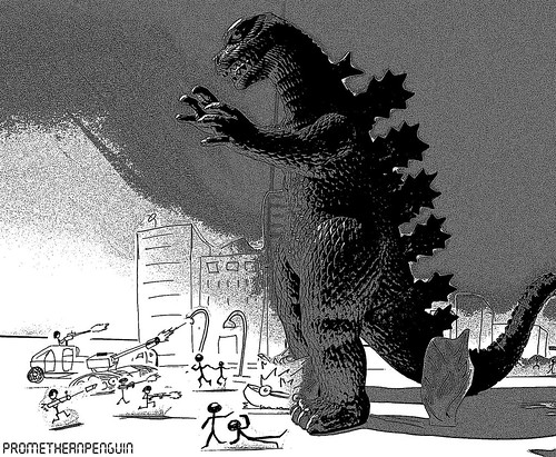 Godzilla attacks stickmen town