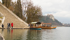 Steps, Boats, Castle (missmareck) Tags: lake europe slovenia bled bledisland pilgrimagechurchoftheassumptionofmary stephintheredcoat julietandadriangetmarried