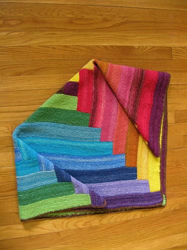 Baby's Handspun Rainbow Log Cabin Blanket