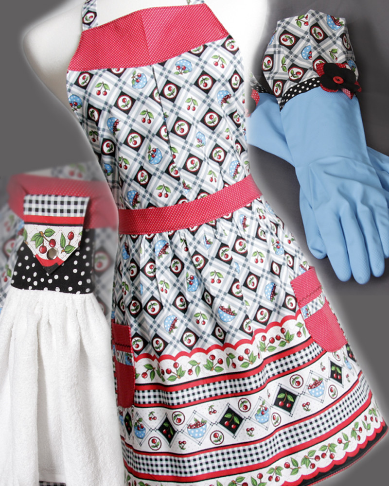 The whole set an Apron pair of Gloves and a towel