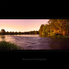 Hawkesbury River Gets A Golden Glow (rhyspope) Tags: sunset panorama lake tree nature wet water creek photoshop canon river gold golden stream afternoon stitch pano australia lagoon richmond rapids hour flowing aussie hawkesbury cs3 500d rhyspope