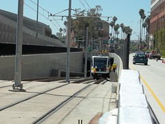 Expo Line Rail Car Clearance Testing: Entering the Trench (jwalker64) Tags: county light test car train project los construction expo metro angeles authority rail line exposition transportation transit vehicle mta clearance lrt metropolitan hirail lacmta lrv