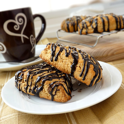 Peanut Butter Scones with Chocolate Drizzle- My Sweet Vegan