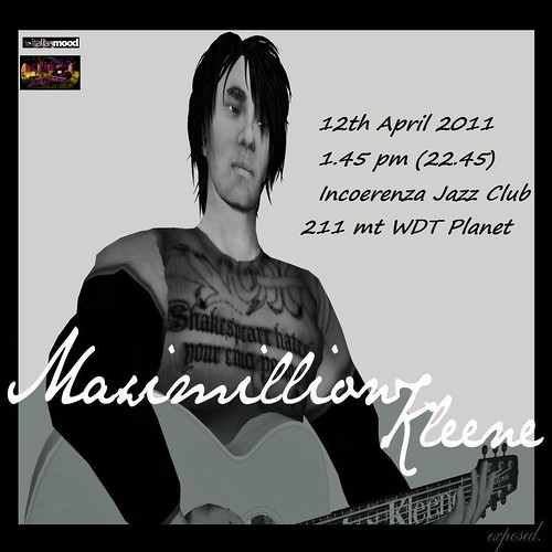 12th April Maximillion Kleene at Incoerenza Jazz Club