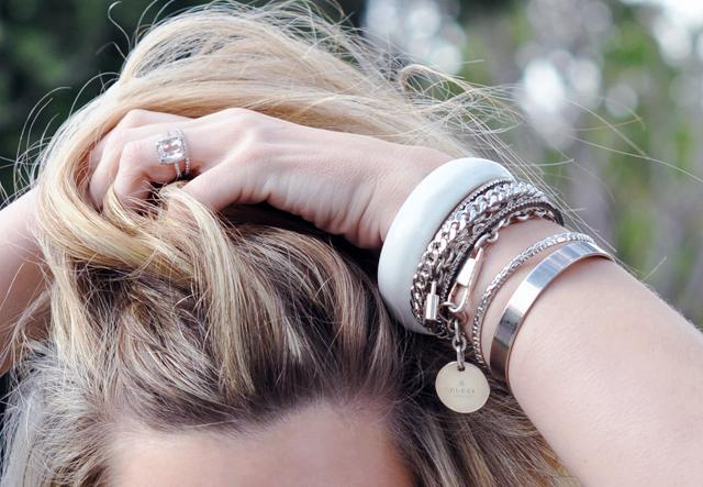 bracelets + hair + ring