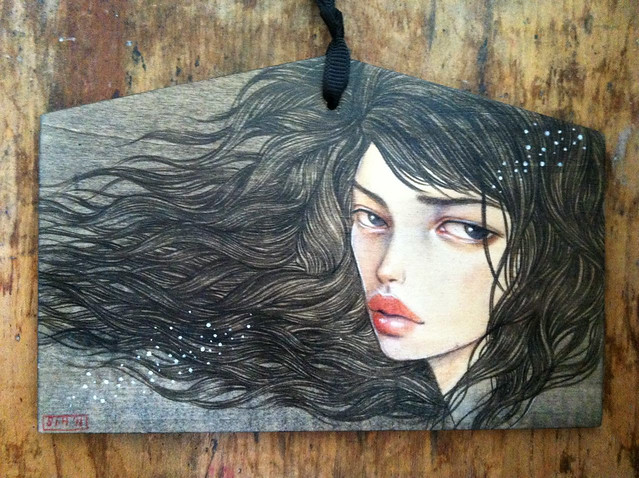 "Wish. 4""x6"". Acrylic & Colored Pencil on Wood (Ema plaque). © 2011."