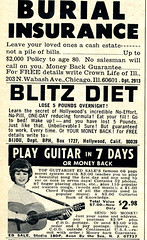 1969 vintage magazine print play guitar ad 7 days advertisement advert burial diet blitz insurance guitarist sixties photoplay edsale