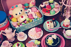 korilakkuma and sweets (Cyristine) Tags: pink cute cake toy miniatures yummy candy adorable kawaii sweets rement rilakkuma sanx korilakkuma
