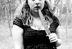 Innocent-Killer(84/365) (howficklemyheart) Tags: white black girl outside outdoors photography blackwhite pentax innocent knife teenager 365 carlyn istdl pentaxistdl 365days verdoorn carlynverdoorn
