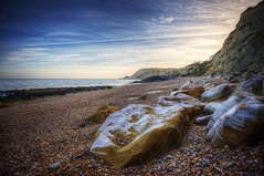 Pett Level (almonkey) Tags: uk beach coast nikon rocks britain stones pebbles handheld coastline southcoast hdr winchelsea firehills sunsetblue 5xp d700
