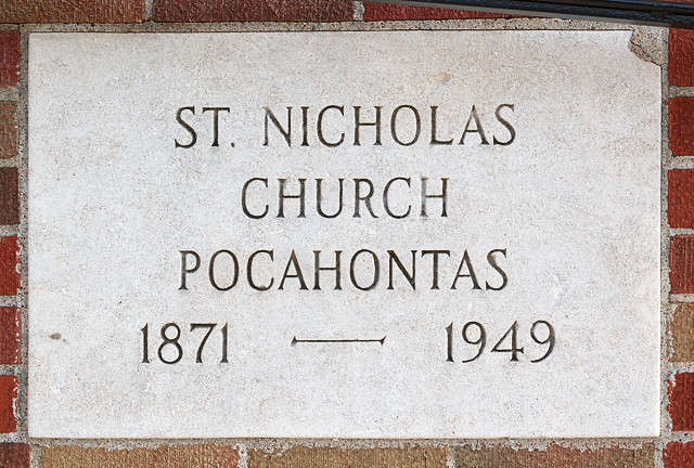 Saint Nicholas Roman Catholic Church, in Pocahontas, Illinois, USA - cornerstone