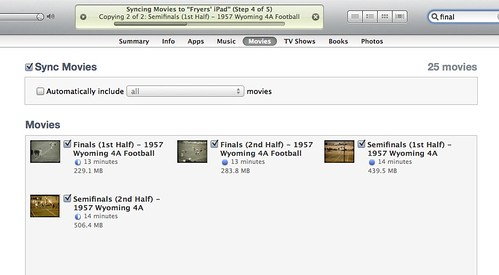 Syncing Movies to iTunes