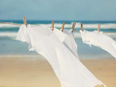 Summer Breeze (ImagesByClaire) Tags: california sea summer sand solanabeach fresh clothes laundry clothesline tshirts blueandwhite summerbreeze washline seabreeze oceanair blowingintheb