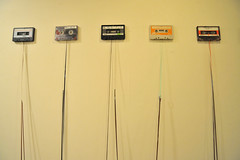 """""""All of the mix tapes I have ever made or received."""" (FloodingFactory) Tags: chicago art flux installation artshow tapes cassettes mixtapes groupshow coprosperitysphere tapeinstallation"""