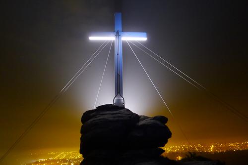 Thank God for Bank Holidays (maf*pHew) Tags: night easter cornwall cross jesus granite sodium crucifixion floodlit redruth carnbrea mafphew mafphoto