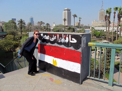 Street art of an Egyptian flag in Cairo