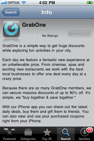 GrabOne iPhone / iPad / iPod App
