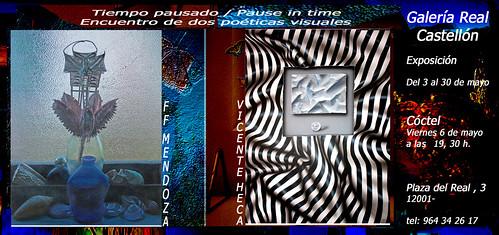 Invitacion  Tiempo pausado,Encuentro de dos poéticas visuales. Galería Real   Castellon by FFMENDOZA -AUSTRALIA