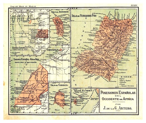008-Posesiones españolas en el occidente de Africa-Atlas De Geografía- Astronómica, Física, Política Y Descriptiva 1908- Juan G. Artero