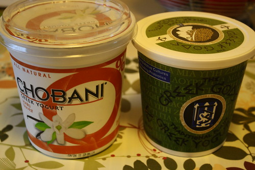 Chobani vanilla yogurt; Greek gods greek yogurt