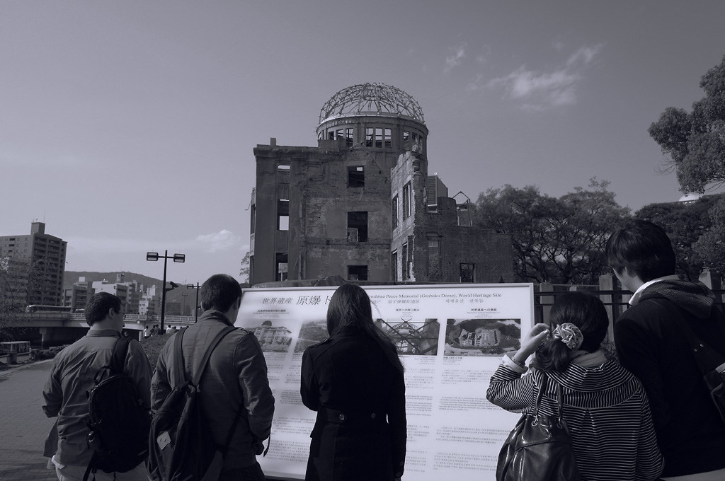 the tourists at Hiroshima the Atomic Bomb Dome