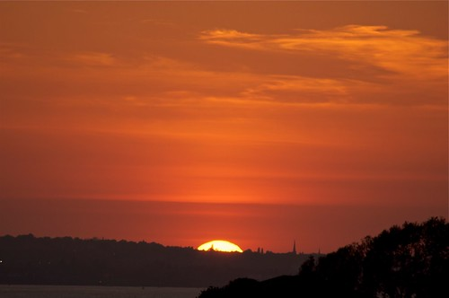 Sunset over River Mersey viewed from Garston