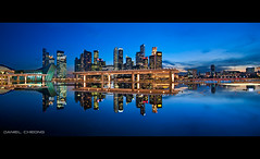 Blue Stillness (DanielKHC) Tags: blue light panorama water skyline museum digital marina reflections 1 mirror bay high still nikon singapore long exposure dynamic dusk explore hour cbd sands range dri hdr mbs blending d300 artscience danielcheong danielkhc tokina1116mmf28