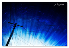 My Power & His Power ([ Kane ]) Tags: blue night clouds stars landscape photography wire power nightscape god dusk australia brisbane qld nightsky kane powerpole 1740 startrails gledhill canon5dmkii kanegledhill