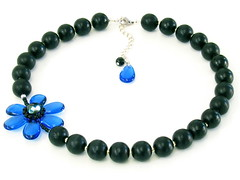 Blue Anemone Beaded Necklace (gilly.flower / Gill Smith) Tags: blue black flower wooden necklace handmade jewellery anemone gillyflower