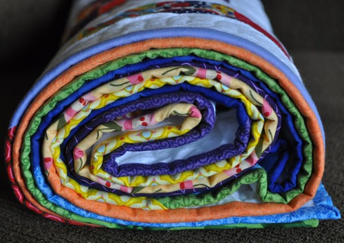 rainbow quilt binding