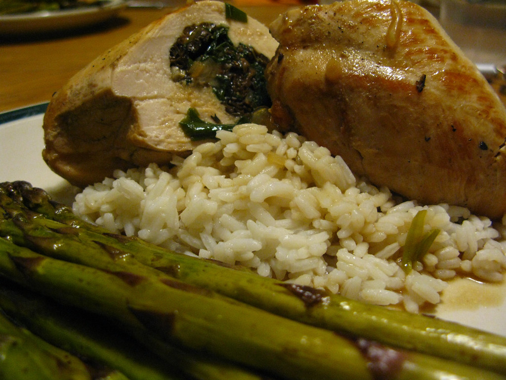 Day 38: Chicken Breast Stuffed with Morels and Ramps, Roasted Asparagus, White Rice