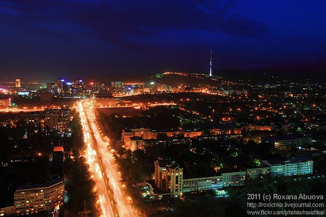 Almaty at Night, Kok-Tube mountain, TV Tower