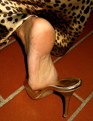 Cougar Sara (al_garcia) Tags: feet high shoes long sandals dirty heel rough mules smelly toenails toerings sabot