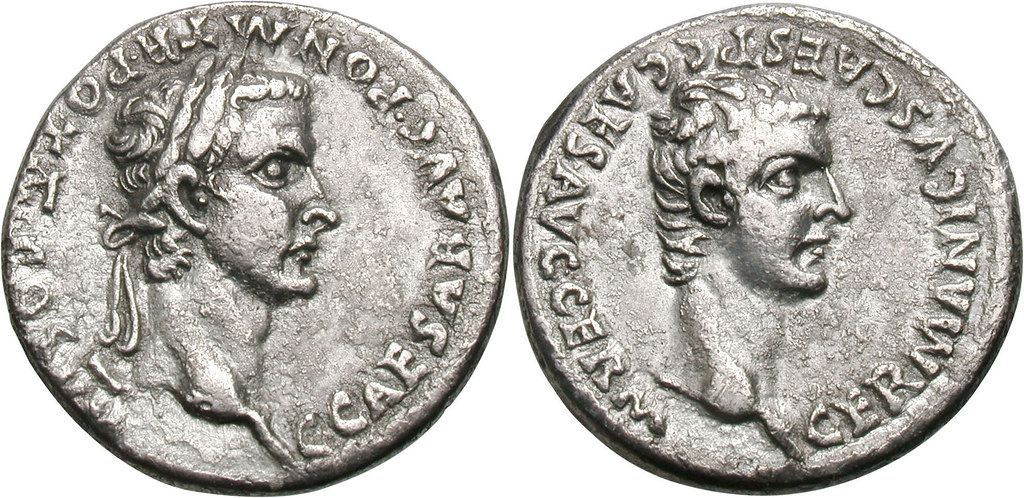 Extremely rare denarius of Caligula's fourth consulship, which only lasted from 1 January 41 until his assassination on 24 January- Caligula and Divus Augustus. 37-41 AD. Denarius, 3.71g. (3h). Lugdun