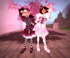 Twins! (littlerowan) Tags: ruffles doll lace twin lolita gloves secondlife corset maryjanes dolly ott headband overthetop ringlets tightlacing stripedsocks petticoats hairbow sweetlolita overkneesocks otks ruffledsocks rfulls