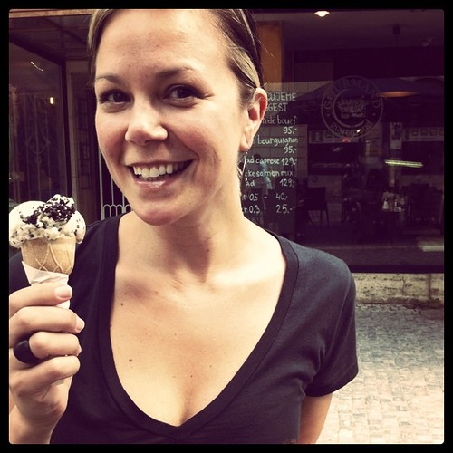 Happy on vacation. #gelato #Prague