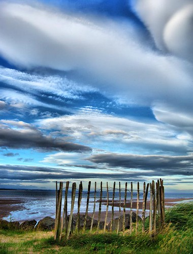 Fence Clouds Beach and Sea - Scottish Coast by idg