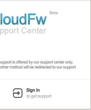 CloudFw Support Center - SignIn