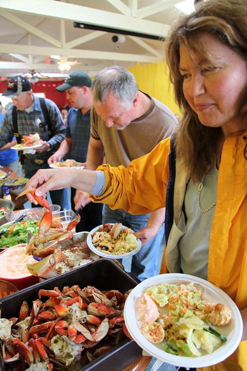 dishing up at the Crab Festival, Totem Trail Cafe, Kasaan, Alaska