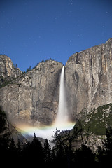 Lunar Rainbow - Upper Yosemite Falls (Ellie Stone) Tags: longexposure nightphotography nature canon landscape waterfall nationalpark power falls nighttime yosemite granite 5d starts ynp upperyosemitefalls lunarrainbow mrkii moonow