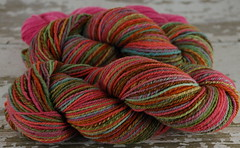 'Discobaby Knits' Jungle Chic' ~ 9oz 3ply Targhee handspun yarn + 2.25oz trim by Yarnoodles