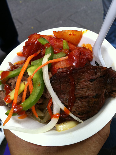 Galbi, bulgogi, kimchee and japchae from Bapcha Cart