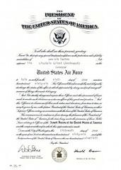 Dd form 1af officer commissioning certificate united states air