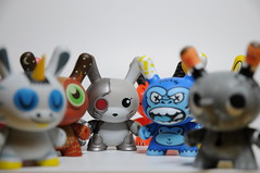 Animal Dunnys (ENC7) Tags: pink blue orange brown amanda elephant rabbit bunny closeup toy grey nikon gray vinyl kidrobot plastic owl ape endangered cyborg mad unicorn fatale 2009 kozik 2tone dunny 2010 d300 squink 2011 visell zebracorn chuckboy ledbeter