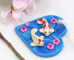 Koi Pond Heart Ornament (Starless Clay) Tags: fish art spiral heart handmade craft polymerclay fimo ornament cherryblossom sakura sculpey swirl koipond filigree premo starlessclay amberelledge