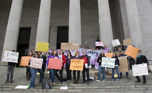 Student Protest Against Cutting Higher Education