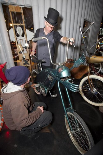 Justin and Jay inspect the chupacabra bike.